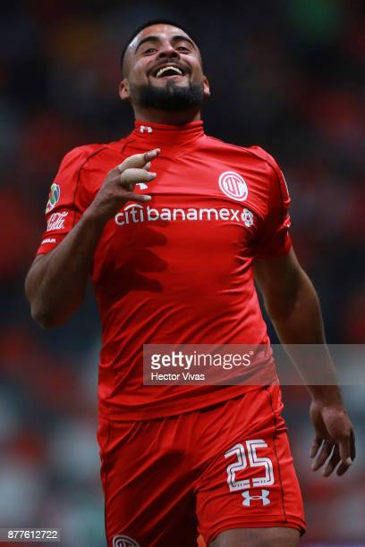 Pedro Canelo of Toluca gestures during a match between Toluca and Morelia as part of the Torneo Apertura 2017 Liga MX Playoff at Nemesio Diez Stadium...