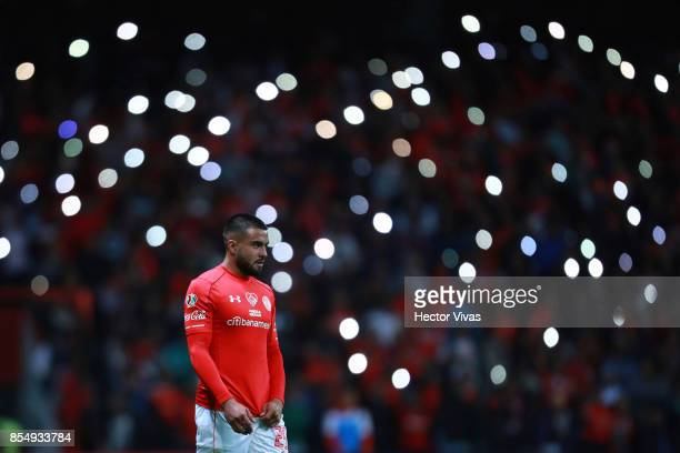 Pedro Canelo of Toluca looks on during the 11th round match between Toluca and Pumas UNAM as part of the Torneo Apertura 2017 Liga MX at Nemesio Diez...