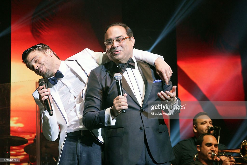 Pedro Capo performs a duet with Gilberto Santa Rosa at Coliseo Jose M Agrelot on June 5 2015 in San Juan Puerto Rico