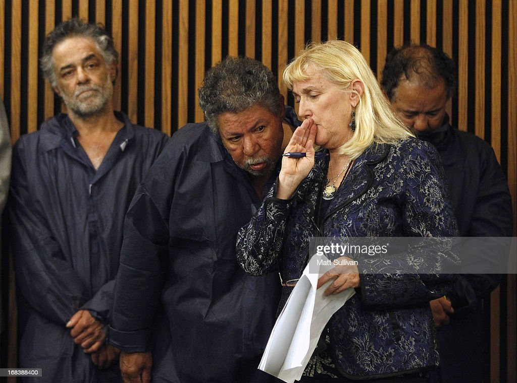 Pedro Castro talks with his public defender, Kathleen DeMetz, during his arraignment for an open container charge from 2011 on May 9, 2013 in Cleveland, Ohio. His brother, Ariel Castro (R), was arraigned on rape and kidnapping charges for abducting Michelle Knight, Amanda Berry and Gina DeJesus and holding them for about 10 years. The third brother, Onil (L), was also arraigned on drug abuse and open container charges from 2001, but no charges were filed against Pedro or Onil and they were released by the judge. Bail was set at $8 million for Ariel.