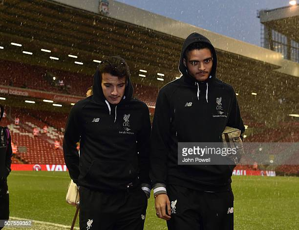 Pedro Chirivella of Liverpool and Tiago Ilori of Liverpool arrives before the The Emirates FA Cup Fourth Round between Liverpool and West Ham United...