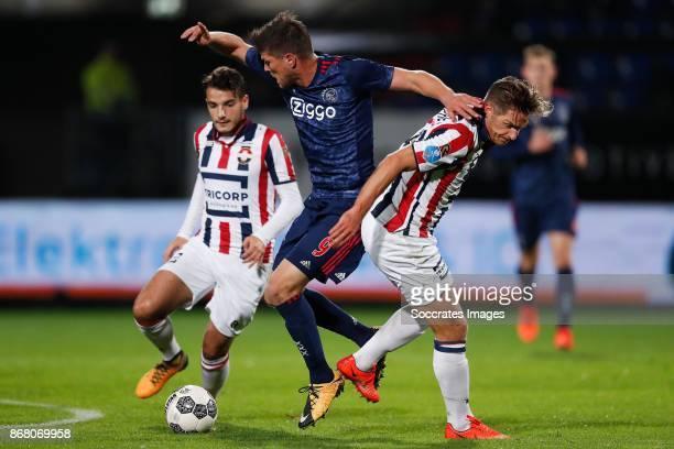 Pedro Chirivella of Willem II Klaas Jan Huntelaar of Ajax Jordens Peters of Willem II during the Dutch Eredivisie match between Willem II v Ajax at...
