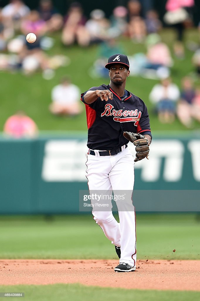 <a gi-track='captionPersonalityLinkClicked' href=/galleries/search?phrase=Pedro+Ciriaco&family=editorial&specificpeople=5718591 ng-click='$event.stopPropagation()'>Pedro Ciriaco</a> #61 of the Atlanta Braves makes a throw to first base during the first inningof a spring training game against the Washington Nationals at Champion Stadium on March 6, 2015 in Lake Buena Vista, Florida.