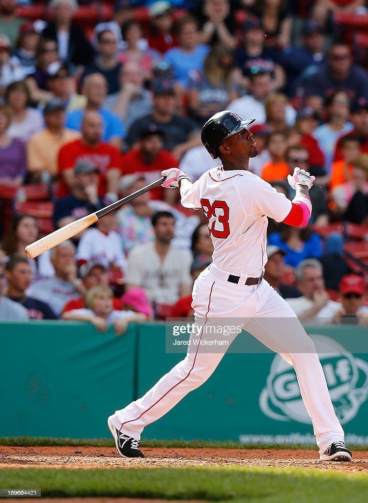 <a gi-track='captionPersonalityLinkClicked' href=/galleries/search?phrase=Pedro+Ciriaco&family=editorial&specificpeople=5718591 ng-click='$event.stopPropagation()'>Pedro Ciriaco</a> #23 of the Boston Red Sox plays against the Toronto Blue Jays during the game on May 12, 2013 at Fenway Park in Boston, Massachusetts.