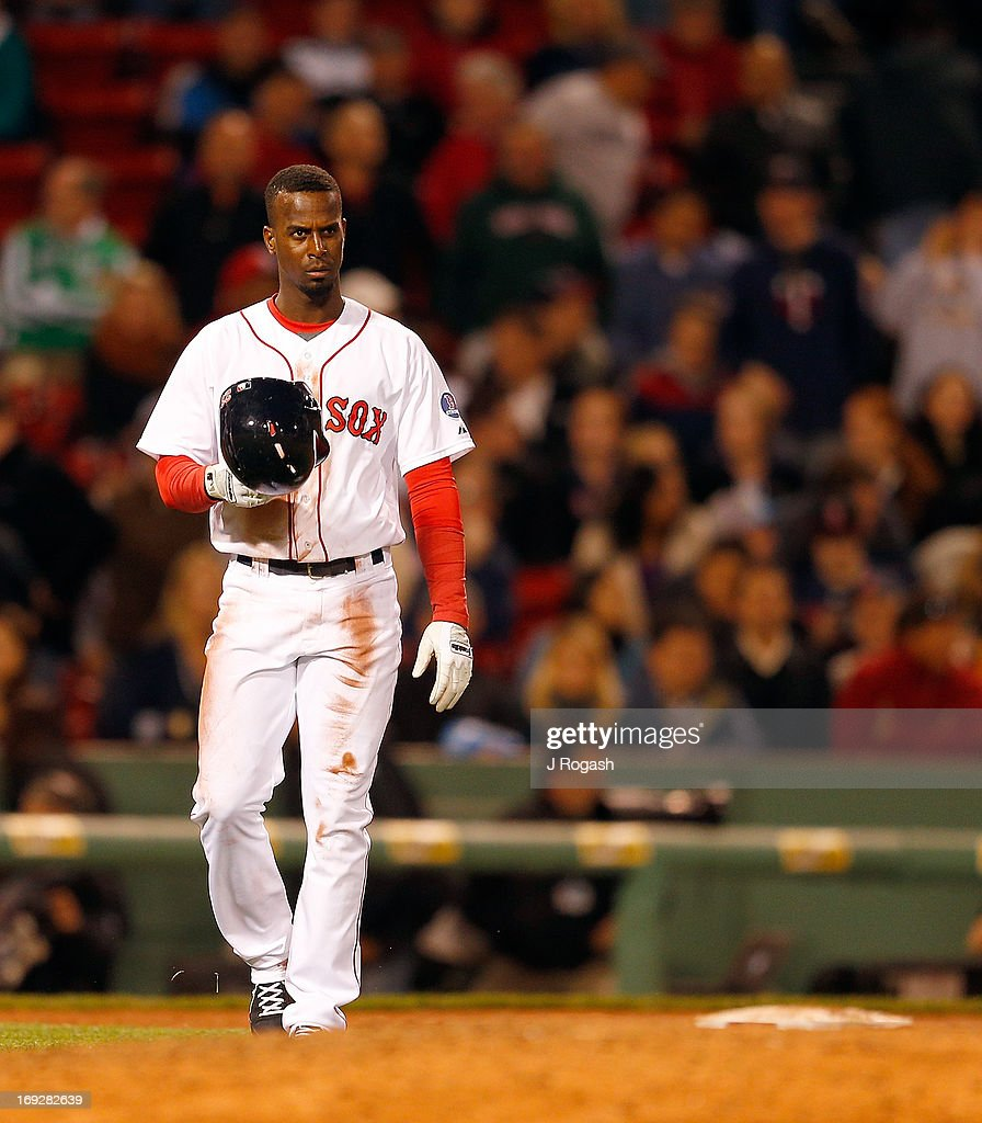 <a gi-track='captionPersonalityLinkClicked' href=/galleries/search?phrase=Pedro+Ciriaco&family=editorial&specificpeople=5718591 ng-click='$event.stopPropagation()'>Pedro Ciriaco</a> #23 of the Boston Red Sox reacts after being tagged out at third on a steal attempt against the Minnesota Twins at Fenway Park on May 6, 2013 in Boston, Massachusetts. Drew was tagged out on the play.
