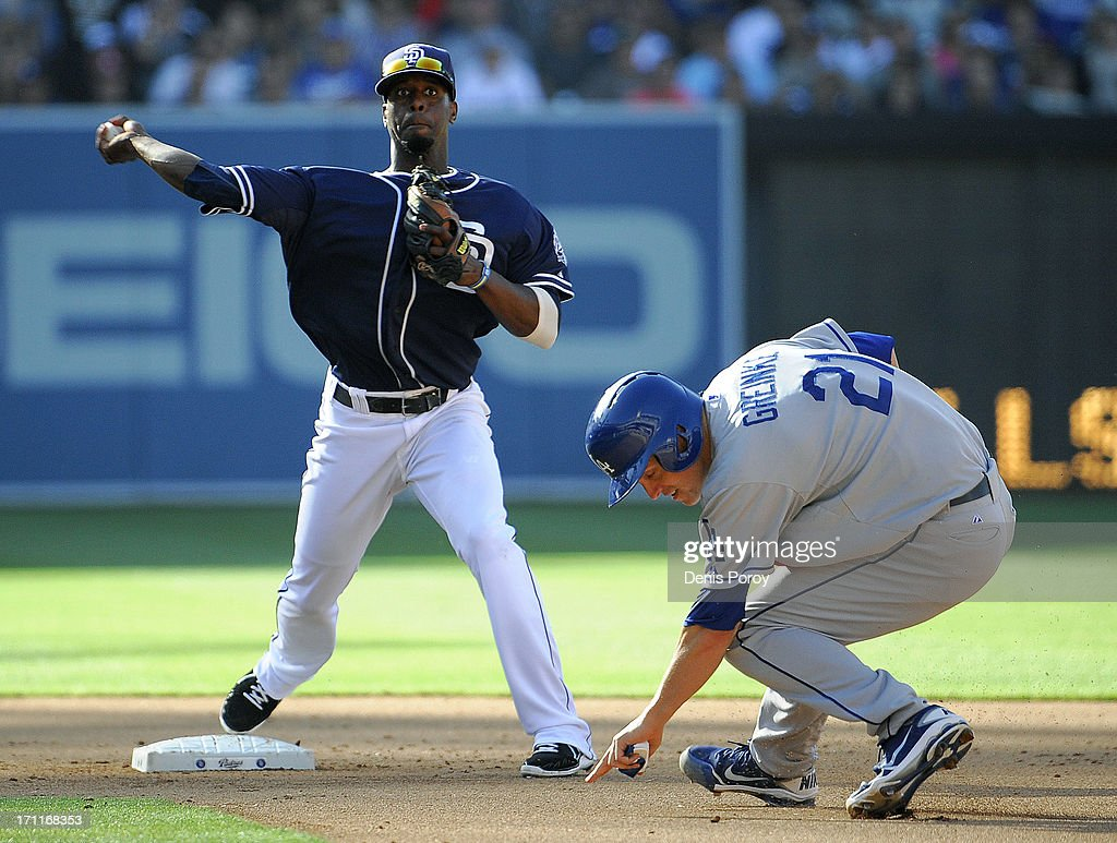 <a gi-track='captionPersonalityLinkClicked' href=/galleries/search?phrase=Pedro+Ciriaco&family=editorial&specificpeople=5718591 ng-click='$event.stopPropagation()'>Pedro Ciriaco</a> #3 of the San Diego Padres throws over <a gi-track='captionPersonalityLinkClicked' href=/galleries/search?phrase=Zack+Greinke&family=editorial&specificpeople=212804 ng-click='$event.stopPropagation()'>Zack Greinke</a> #21 of the Los Angeles Dodgers as he tries to turn a double play during the fifth inning of a baseball game at Petco Park on June 22, 2013 in San Diego, California. Skip Schumaker #3 of the Los Angeles Dodgers was safe at first and a run scored on the play.