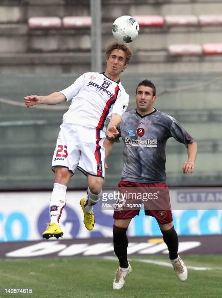 Pedro Correia of Crotone competes for the ball in air with of Antonino Barilla of Reggina during the Serie B match between Reggina Calcio and FC...