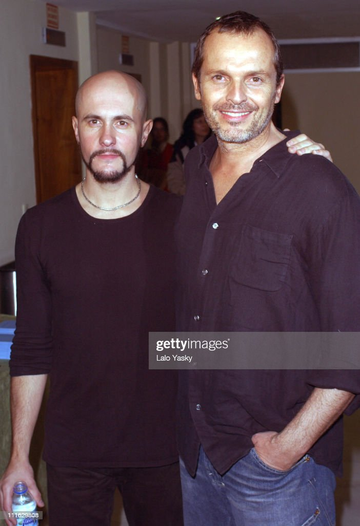 Pedro de Andrea and Miguel Bose during Miguel Bose Spanish Singer and Musician Reads Poems from Pedro de Andrea's New Book 'Palabras Guardadas ' at...