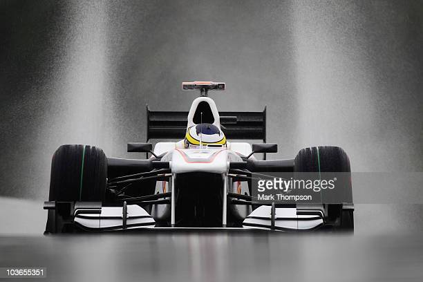 Pedro de la Rosa of Spain and BMW Sauber drives during practice for the Belgian Formula One Grand Prix at the Circuit of Spa Francorchamps on August...