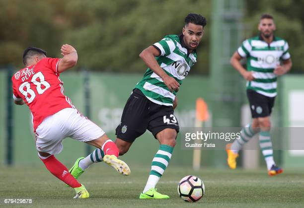Pedro Delgado of Sporting CP B with Pedro Rodrigues of SL Benfica B in action during the Segunda Liga match between Sporting CP B and SL Benfica B at...