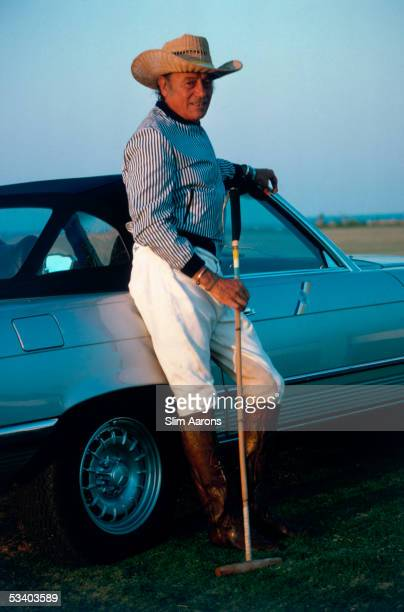 Pedro Domecq de la Riva with a polo mallet in Sotogrande 1977