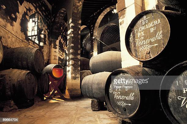Pedro Domecq wine cellar Barrels of sherry in the cellars of Pedro Domecq Company
