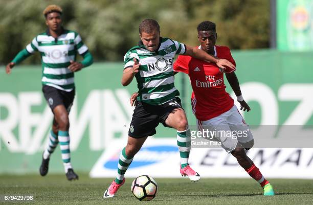 Pedro Empis of Sporting CP B with Heriberto Tavares of SL Benfica B in action during the Segunda Liga match between Sporting CP B and SL Benfica B at...