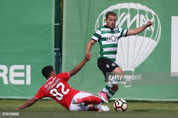 Pedro Empis of Sporting CP B with Luquinhas of SL Benfica B in action during the Segunda Liga match between Sporting CP B and SL Benfica B at CGD...