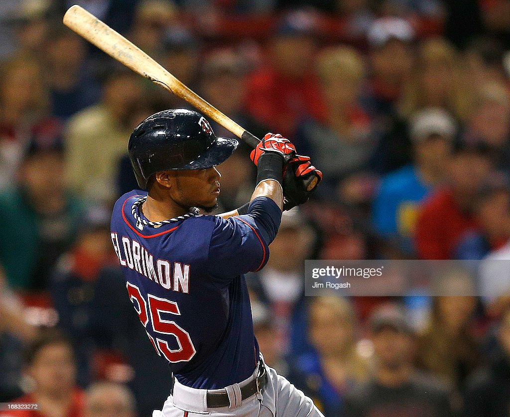 Pedro Florimon #25 of the Minnesota Twins doubles in two runs in the 2nd inning against the Boston Red Sox at Fenway Park on May 8, 2013 in Boston, Massachusetts.