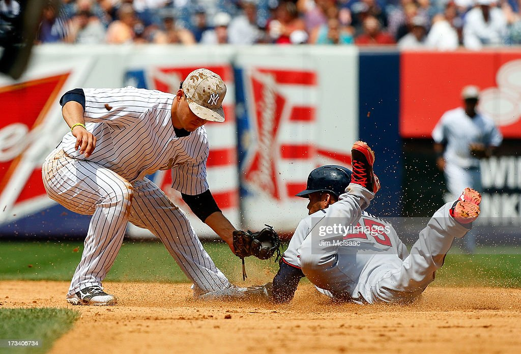 Pedro Florimon #25 of the Minnesota Twins is caught stealing second base by Luis Cruz #61 of the New York Yankees to end the sixth inning at Yankee Stadium on July 13, 2013 in the Bronx borough of New York City.