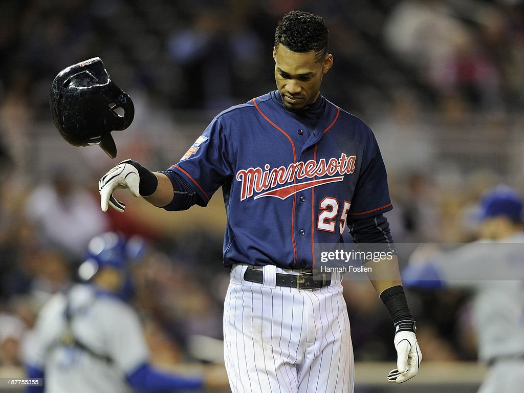 Pedro Florimon #25 of the Minnesota Twins reacts to striking out against the Los Angeles Dodgers during the seventh inning in game two of a doubleheader on May 1, 2014 at Target Field in Minneapolis, Minnesota. The Dodgers defeated the Twins 4-3 in twelve innings.