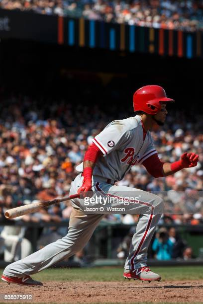 Pedro Florimon of the Philadelphia Phillies at bat against the San Francisco Giants during the eighth inning at ATT Park on August 20 2017 in San...