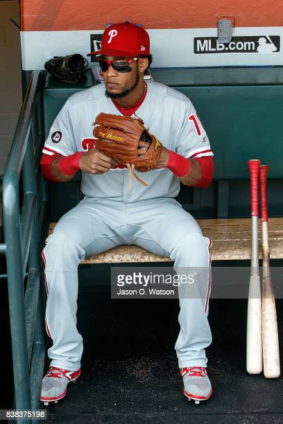 Pedro Florimon of the Philadelphia Phillies sits in the dugout before the game against the San Francisco Giants at ATT Park on August 20 2017 in San...