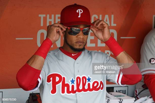Pedro Florimon of the Philadelphia Phillies stands in the dugout before the game against the San Francisco Giants at ATT Park on August 20 2017 in...