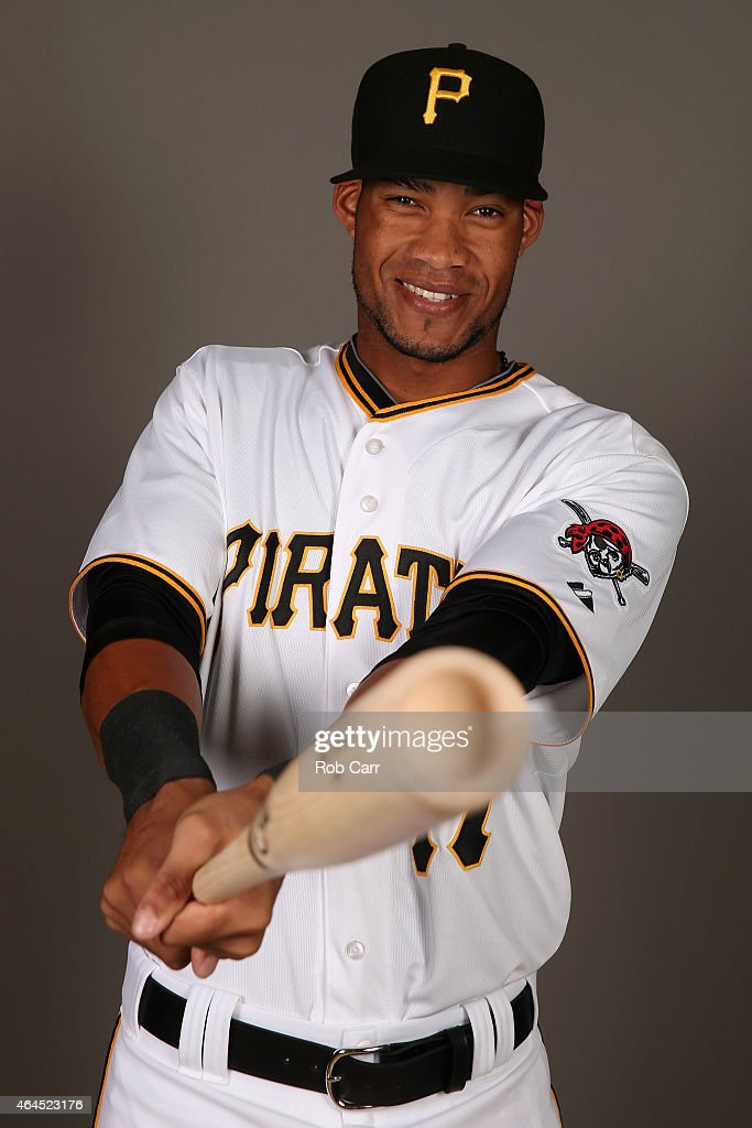 Pedro Florimon #17 of the Pittsburgh Pirates poses for a portrait on photo day on February 26, 2015 at Pirate City in Bradenton, Florida.