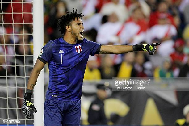 Pedro Gallese of Peru in action during the Brazil Vs Peru Group B match of the Copa America Centenario USA 2016 Tournament at Gillette Stadium on...