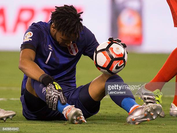 Pedro Gallese of Peru looks down after making the save during a Quarterfinal match between Colombia and Peru at MetLife Stadium as part of Copa...
