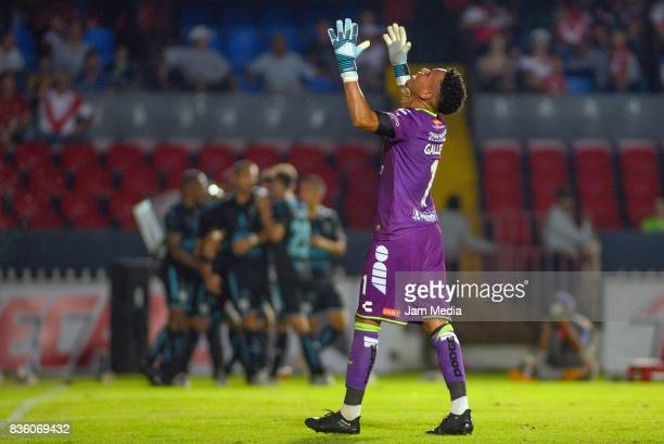 Pedro Gallese of Veracruz reacts during the fifth round match between Veracruz and Queretaro as part of the Torneo Apertura 2017 Liga MX at Luis...