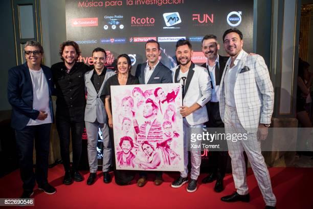 Pedro Guerra Manuel Carrasco Eva Yerbabuena Miguel Poveda and Jorge Lucas attend the photocall of the 'Miguel Poveda Amigos' Gala at Gran Teatre del...