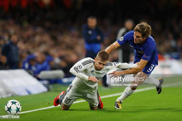 Pedro Henrique of Qarabag FK is fouled by Marcos Alonso of Chelsea during the UEFA Champions League Group C match between Chelsea FC and Qarabag FK...
