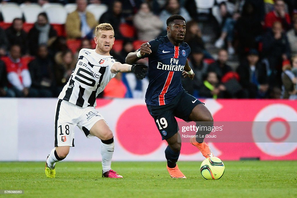 Pedro HENRIQUE of Rennes and Serge AURIER of PSG during the French Ligue 1 match between Paris Saint Germain PSG and Stade Rennais at Parc des Princes on April 29, 2016 in Paris, France.