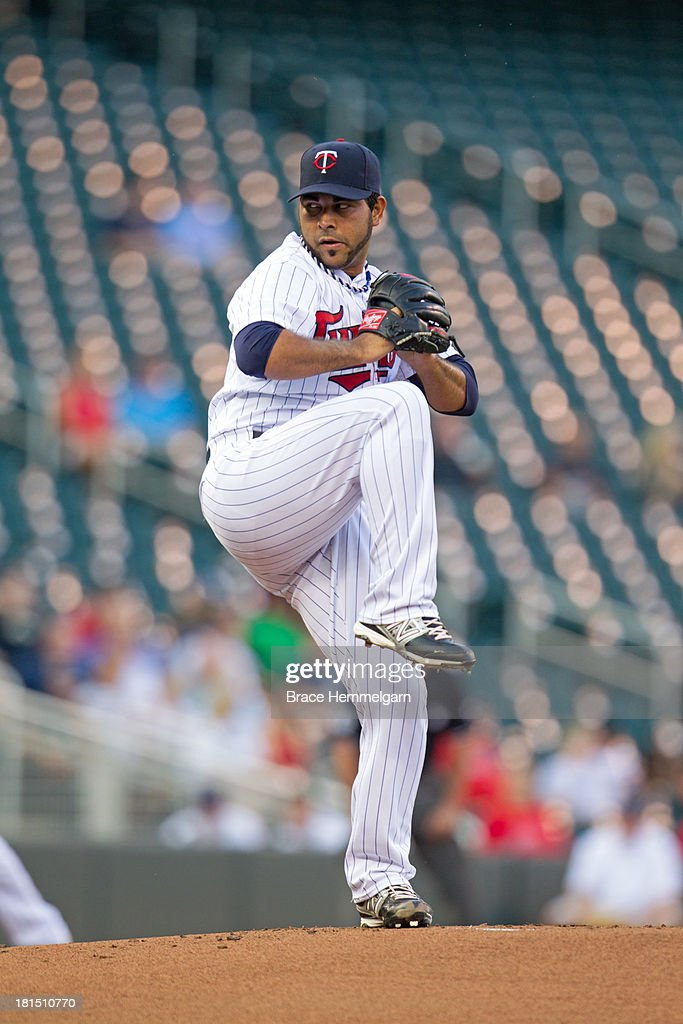 Pedro Hernandez #60 of the Minnesota Twins pitches against the Los Angeles Angels of Anaheim on August 9, 2013 at Target Field in Minneapolis, Minnesota. The Twins defeated the Angels 6-3.