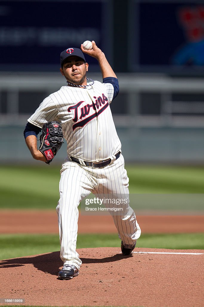 Pedro Hernandez #60 of the Minnesota Twins pitches against the Texas Rangers on April 27, 2013 at Target Field in Minneapolis, Minnesota. The Twins defeated the Rangers 7-2.