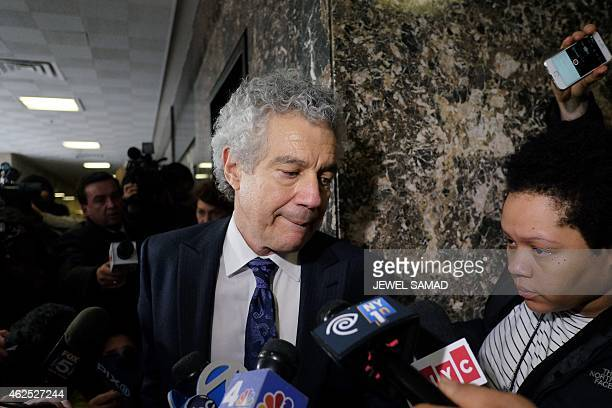 Pedro Hernandez's defense lawyer Harvey Fisbein makes his way past journalists at a court in New York on January 30 2015 at the lunch break of his...