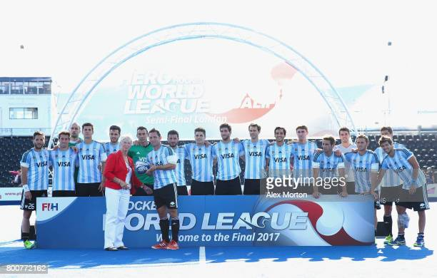 Pedro Ibarra of Argentina recieves their runners up trophy after the final match between Argentina and the Netherlands on day nine of the Hero Hockey...