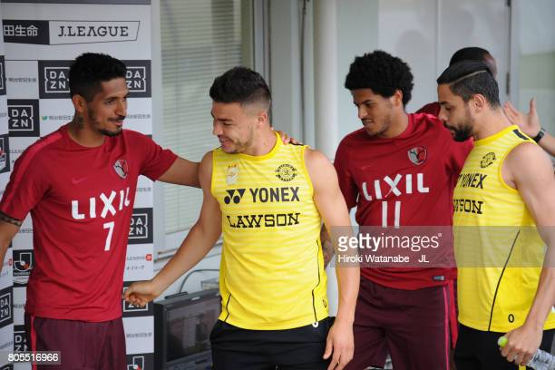 Pedro Junior Leandro of Kashima Antlers talk with Cristiano and Diego Oliveira of Kashiwa Reysol prior to the JLeague J1 match between Kashiwa Reysol...