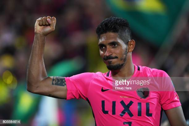 Pedro Junior of Kashima Antlers celebrates his side's 32 victory after the JLeague J1 match between Kashiwa Reysol and Kashima Antlers at Hitachi...