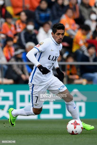 Pedro Junior of Kashima Antlers in action during the JLeague J1 match between Shimizu SPulse and Kashima Antlers at IAI Stadium Nihondaira on March...