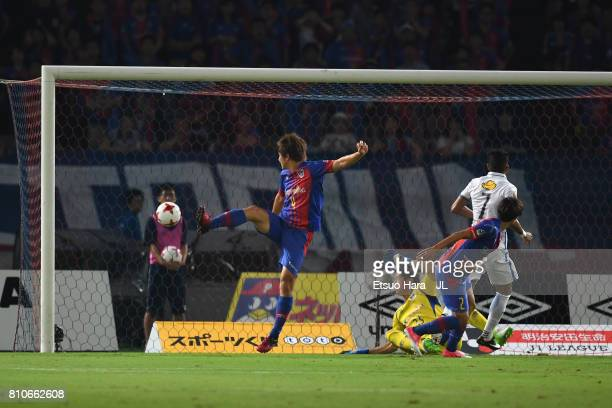 Pedro Junior of Kashima Antlers scores the opening goal during the JLeague J1 match between FC Tokyo and Kashima Antlers at Ajinomoto Stadium on July...