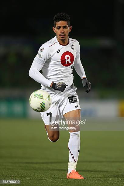 Pedro Junior of Vissel Kobe in action during the JLeague match between Shonan Bellmare and Vissel Kobe at the Shonan BMW Stadium Hiratsuka on April 2...