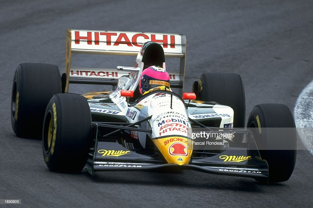 Pedro Lamy of Portugal in action in his Lotus Mugen Honda during the Brazilian Grand Prix at the Interlagos circuit in Sao Paulo, Brazil. Lamy finished in tenth place. \ Mandatory Credit: Pascal Rondeau/Allsport