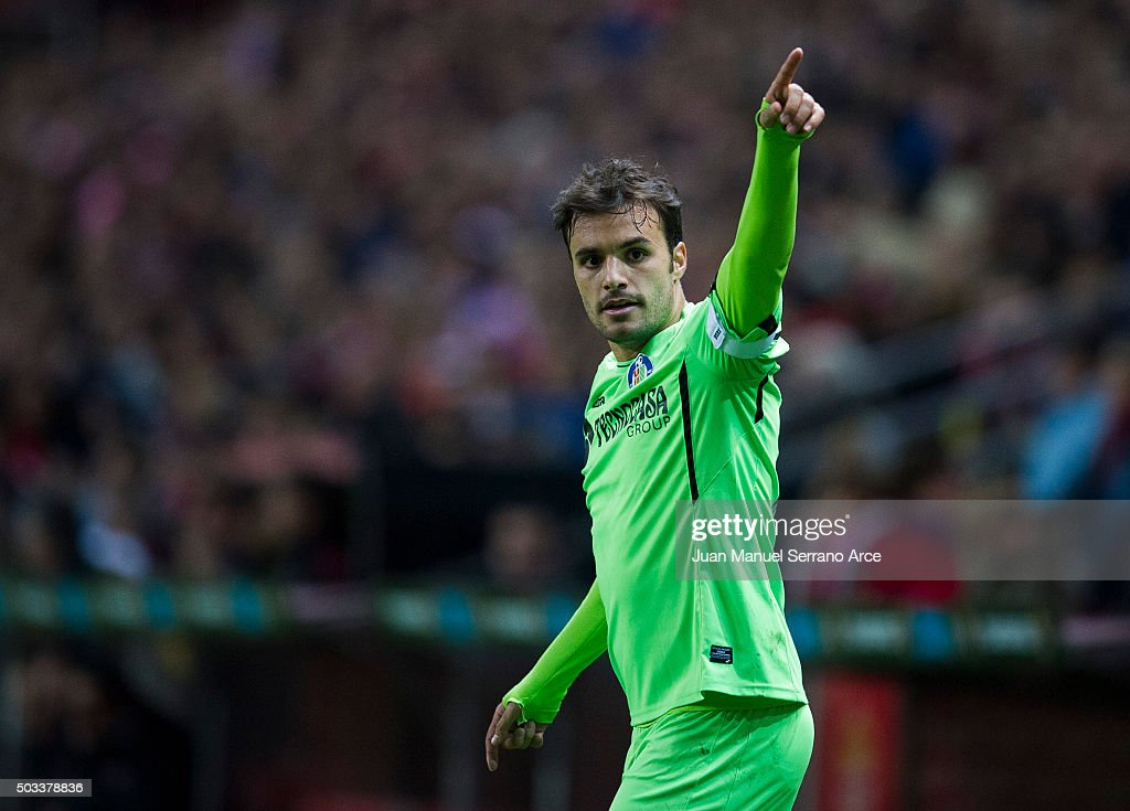 Pedro Leon of Getafe CF reacts during the La Liga match between Real Sporting de Gijon and Getafe CF at Estadio El Molinon on January 4, 2016 in Gijon, Spain.