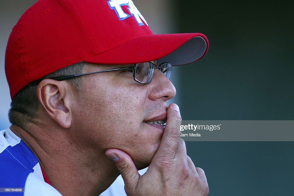 Pedro Lopez manager of Puerto Rico looks on during a match between Puerto Rico and Venezuela as part of the Caribbean Series 2013 at Sonora Stadium on February 05, 2013 in Hermosillo, Mexico.