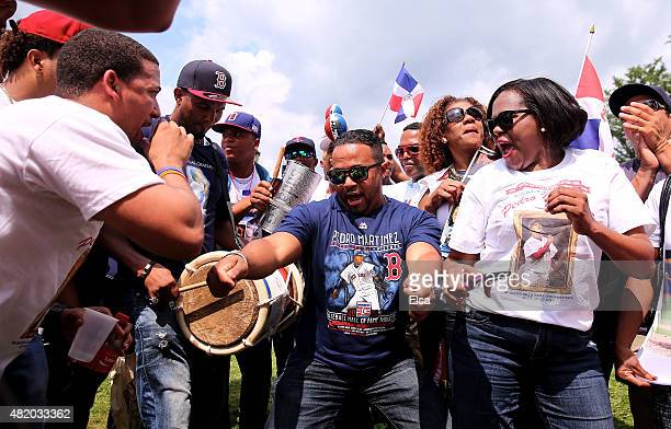 Pedro Martinez fans celebrate before the Induction Ceremony at National Baseball Hall of Fame on July 26 2015 in Cooperstown New YorkMartinez along...