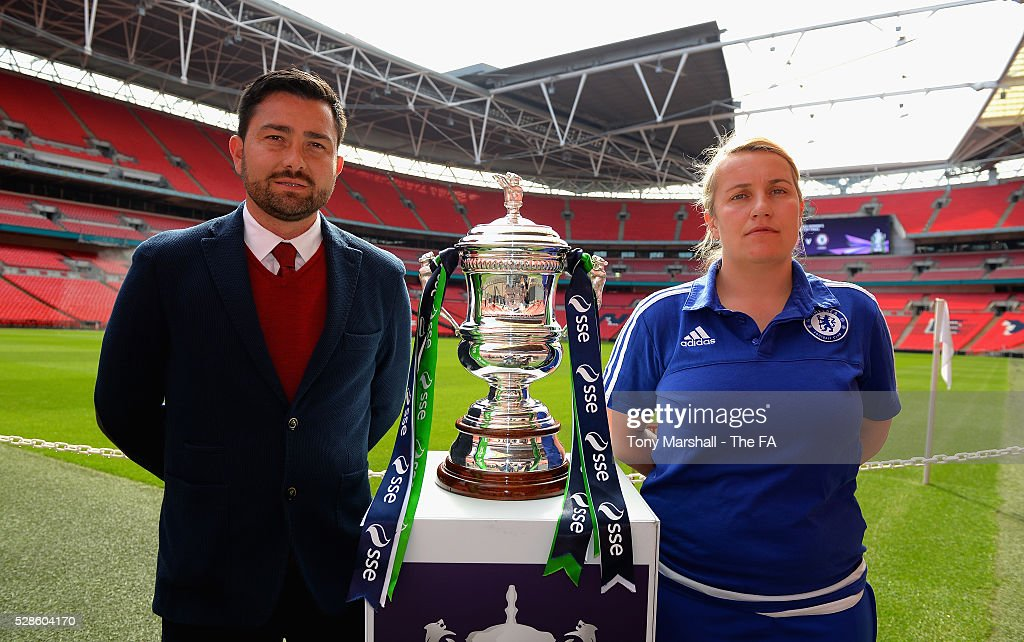 Pedro Martinez Losa, manager of Arsenal Ladies and Emma Hayes, manager of Chelsea FC Ladies pose with the SSE Women's FA Cup during the SSE Women's FA Cup Final - Wembley Media Day at Wembley Stadium on May 6, 2016 in London, England.