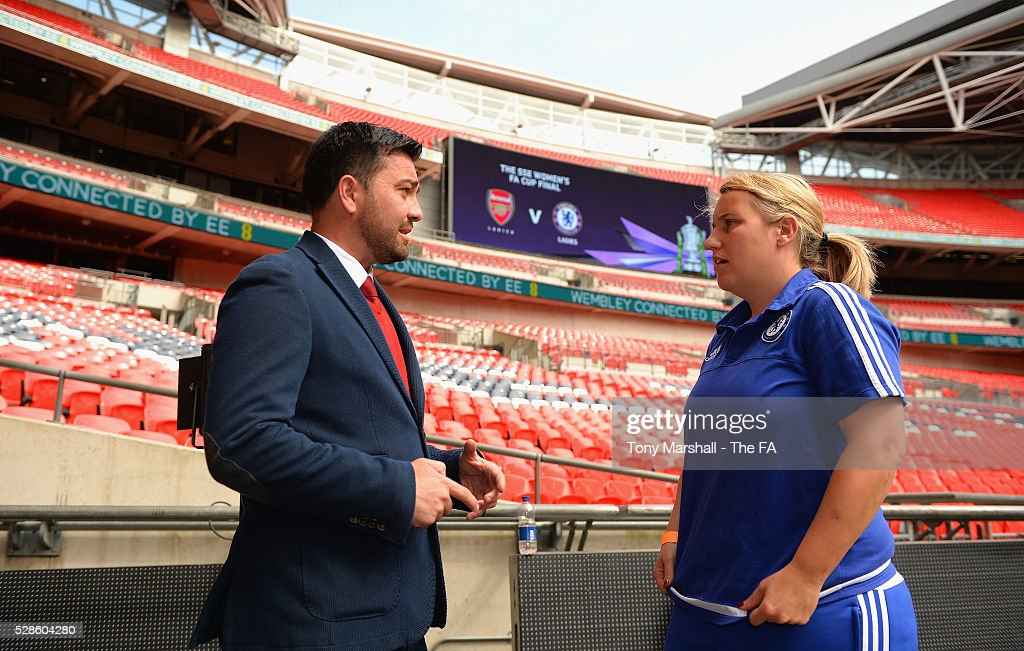 Pedro Martinez Losa, manager of Arsenal Ladies and Emma Hayes, manager of Chelsea FC Ladies chatting during the SSE Women's FA Cup Final - Wembley Media Day at Wembley Stadium on May 6, 2016 in London, England.