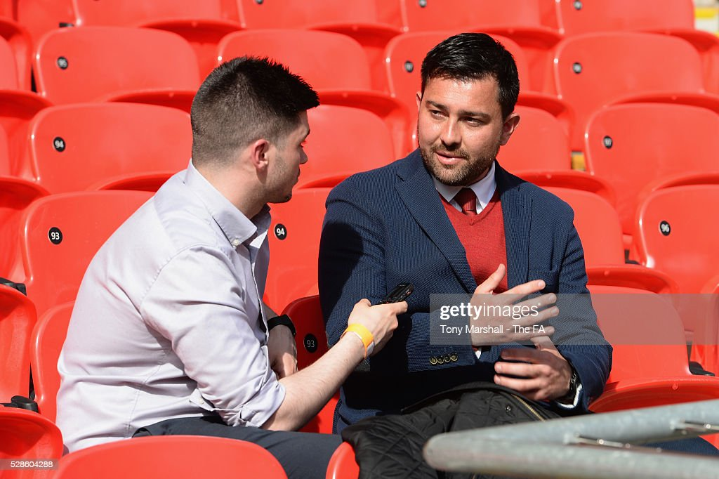 Pedro Martinez Losa, manager of Arsenal Ladies is interviewed during the SSE Women's FA Cup Final - Wembley Media Day at Wembley Stadium on May 6, 2016 in London, England.