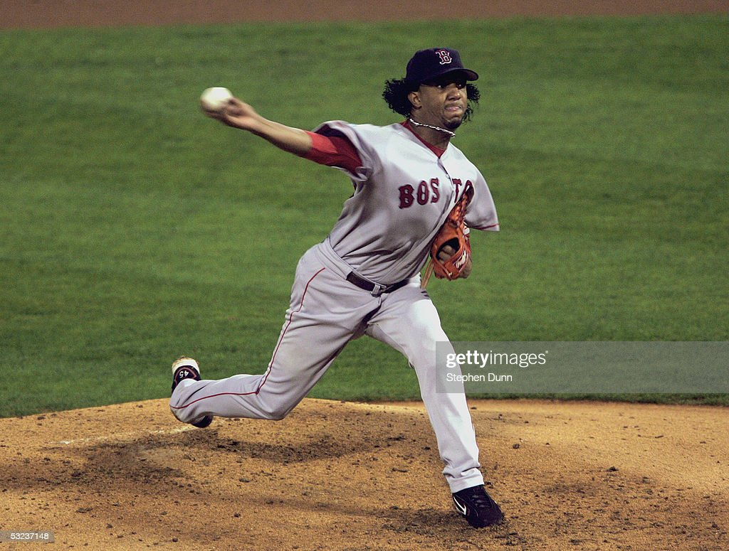 Pedro Martinez of the Boston Red Sox pitches against the St Louis Cardinals during game three of the 2004 World Series on October 26 2004 at Busch...