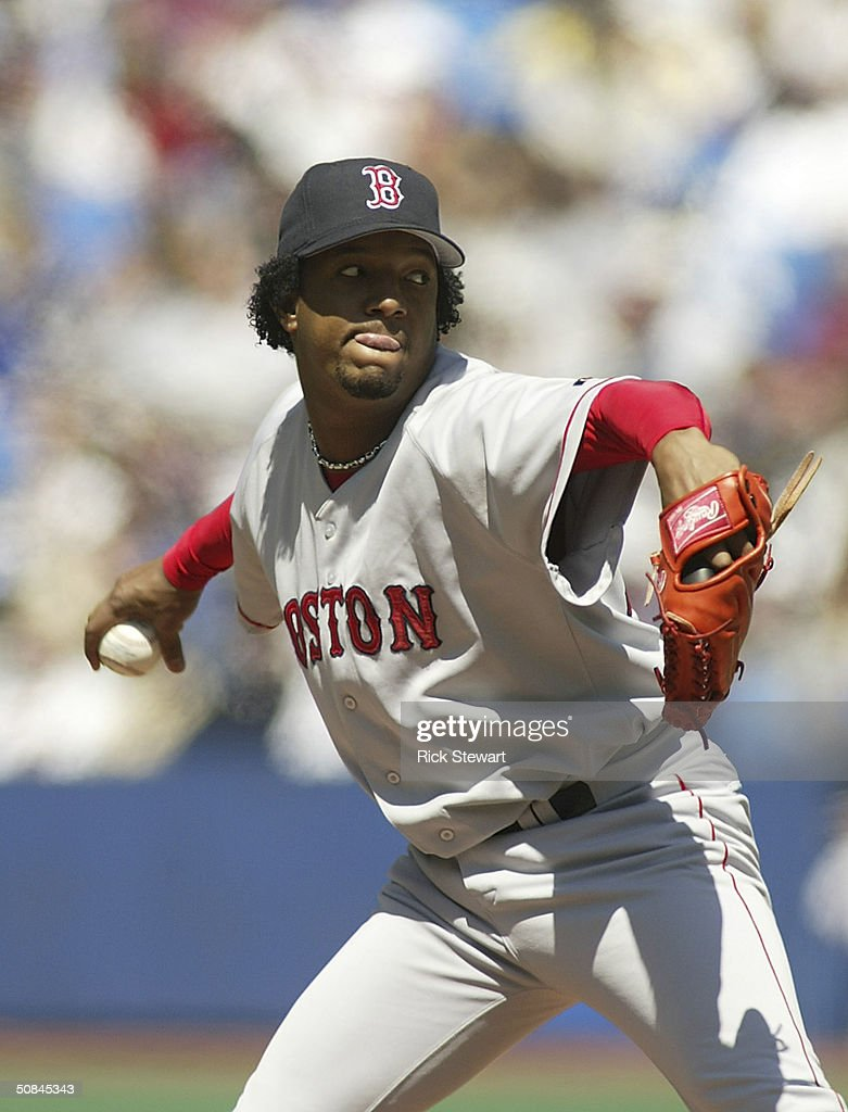 Pedro Martinez #45 of the Boston Red Sox pitches against the Toronto Blue Jays on May 16, 2004 at Skydome in Toronto, Canada. The Bluejays won 3-1.