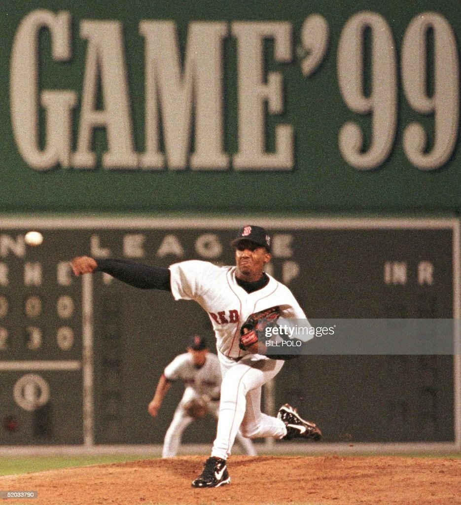 <a gi-track='captionPersonalityLinkClicked' href=/galleries/search?phrase=Pedro+Martinez&family=editorial&specificpeople=171773 ng-click='$event.stopPropagation()'>Pedro Martinez</a> of the Boston Red Sox pitches in the second inning of the 70th All-Star Game 13 July 1999 at Fenway Park in Boston, Massachusetts. Martinez was named the gameee's Most Valuable Player (MVP) as the American League defeated the National League 4-1.